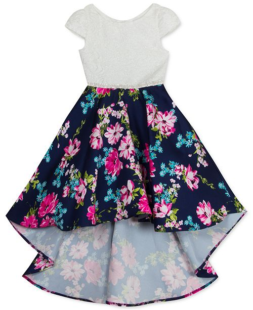 Rare Editions Little Girls Lace-Bodice Floral-Skirt Mikado High-Low Dress