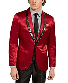Orange Men's Slim-Fit Red/Black Sequin Evening Jacket