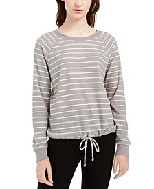 Juniors' Striped Drawstring-Hem Top