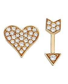 Diamond (1/6 ct. t.w.) Heart and Arrow Stud Earrings in 14K Yellow Gold