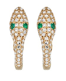 Diamond (1/3 ct. t.w.) and Emerald (1/20 ct. t.w.) Serpent Earrings in 14K Yellow Gold