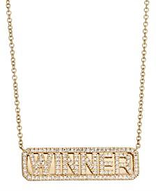 Diamond (1/3 ct. t.w.) Winner ID Necklace in 14K Yellow Gold