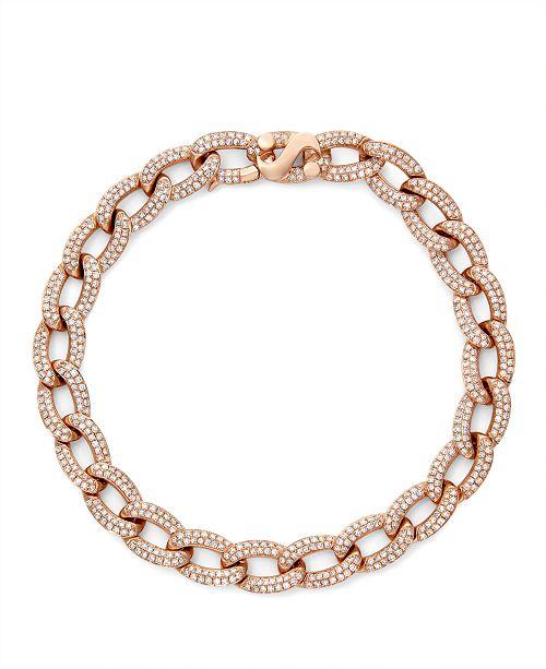 Serena Williams Jewelry Diamond (2-1/6 ct. t.w.) Cuban Link Bracelet in 14K Rose Gold