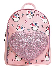 Bling Miss Gwen Printed Mini Backpack with Glitter Pocket