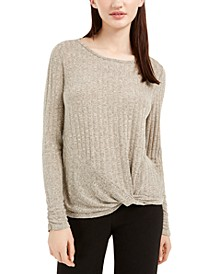 Juniors' Twist-Front Tie-Back Sweater