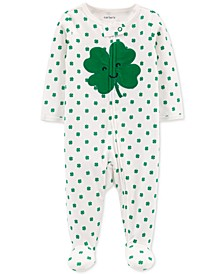 Baby Boys & Girls Shamrock-Print Cotton Footed Coverall