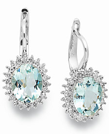 14k White Gold Earrings, Aquamarine (3-3/8 ct. t.w.) and Diamond (1/2 ct. t.w.) Leverback Earrings