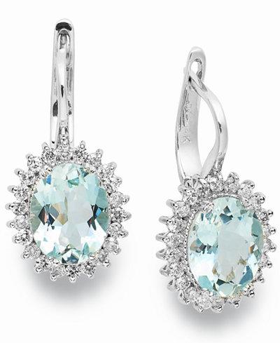 14k White Gold Earrings, Aquamarine (3-3/8 ct. t.w.) and Diamond (1/2 ct. t.w.) Leverback Earrings