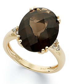 14k Gold Ring, Smokey Quartz (12 ct. t.w.) and Diamond (1/5 ct. t.w.) Oval Ring
