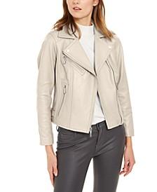 Leather Side-Strap Moto Jacket