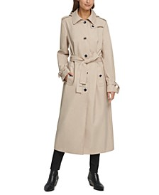 Belted Water-Resistant Maxi Hooded Trench Coat