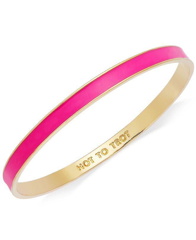 "kate spade new york Bracelet, Gold-Tone Fluorescent Pink ""Hot to Trot"" Idiom Bangle Bracelet"