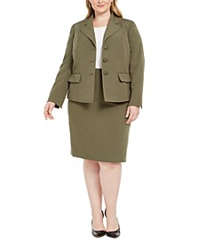 Plus Size Four-Button Skirt Suit