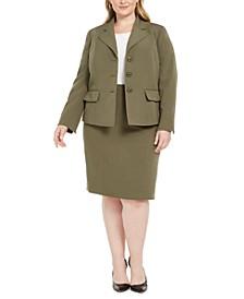 Plus Size Four-Button Skirt Suit