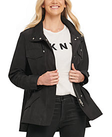DKNY High-Low Drawstring-Waist Utility Jacket