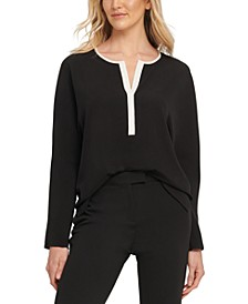 Contrast-Trim Split-Neck Top