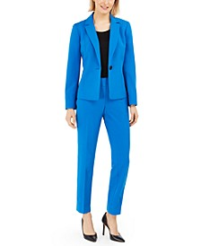 Petite One-Button Straight-Leg Pantsuit