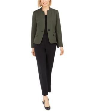 One-Button Contrast-Color Pantsuit
