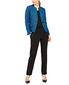 One-Button Contrast-Color Pantsuit