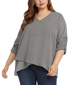 Plus Size Layered Crossover Top