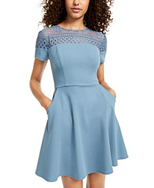 Juniors' Lace-Panel A-Line Dress
