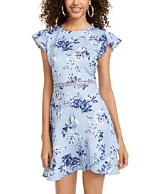 Juniors' Flounce-Hem Fit & Flare Dress