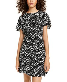 Juniors' Printed Flutter-Sleeve Dress