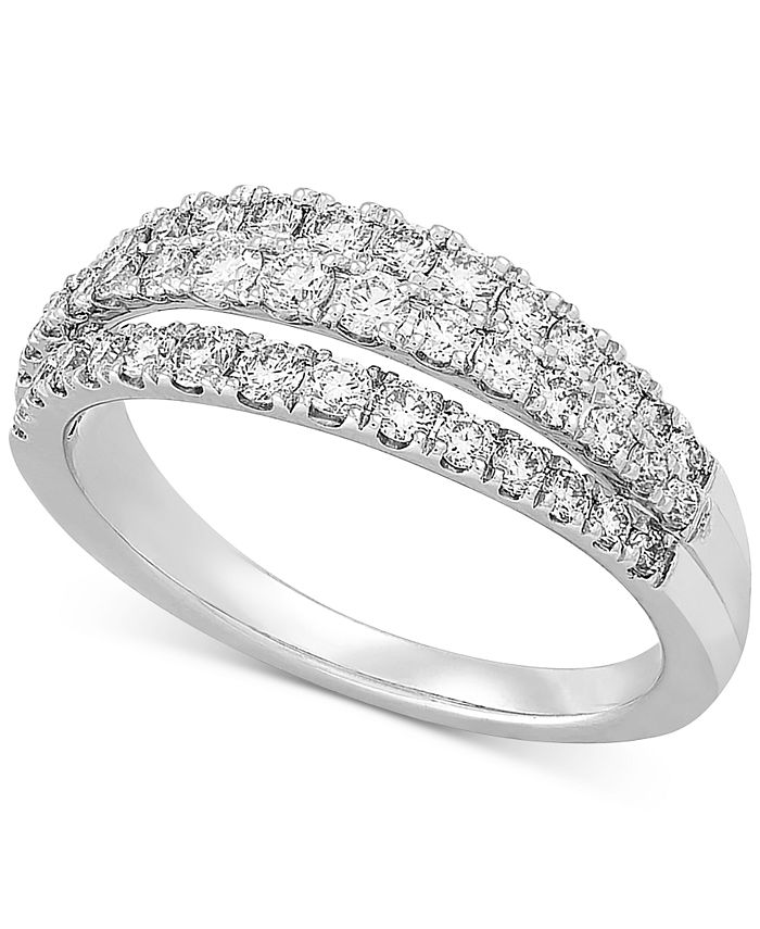 Forever Grown Diamonds - Lab-Created Diamond Three-Row Statement Ring (3/4 ct. t.w.) in Sterling Silver