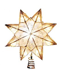 Indoor 10-Light 8-Point Capiz Star Treetop with Arabesque Decoration