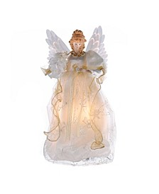 14-Inch Fiber Optic Ivory and Gold Animated Angel Treetop