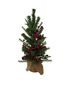 18-Inch PVC Tree With Red Berry, Pinecone and Burlap