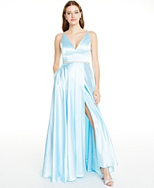 Juniors' Embellished Faux-Wrap Gown