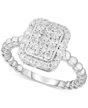 Lab-Created Diamond Rectangle Cluster Halo Statement Ring (3/4 ct. t.w.) in Sterling Silver