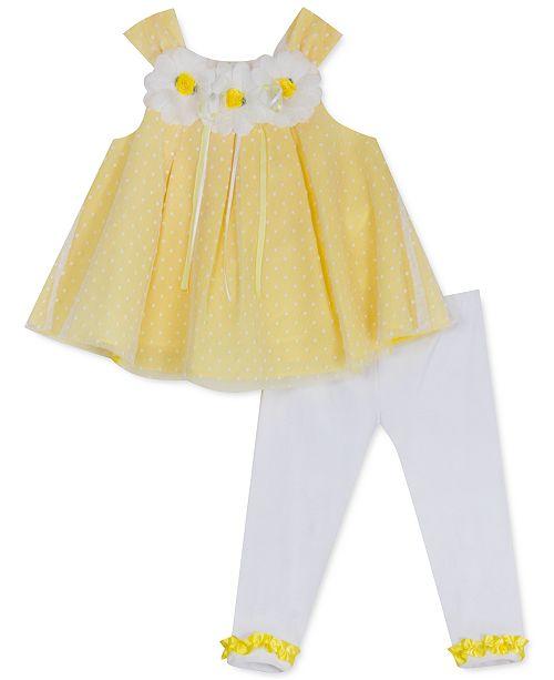 Rare Editions Baby Girls 2-Pc. Mesh Dot Top & Leggings Set