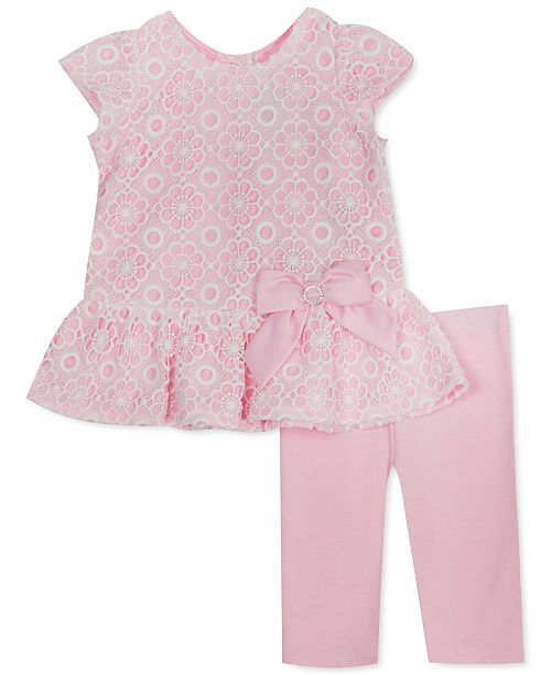 Rare Editions Baby Girls 2-Pc. Lace Top & Solid Leggings Set
