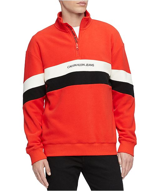 Calvin Klein Jeans Men's Colorblocked Stripe 1/4-Zip Fleece Sweatshirt