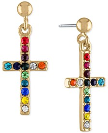 Gold-Tone Multicolor Stone Cross Drop Earrings