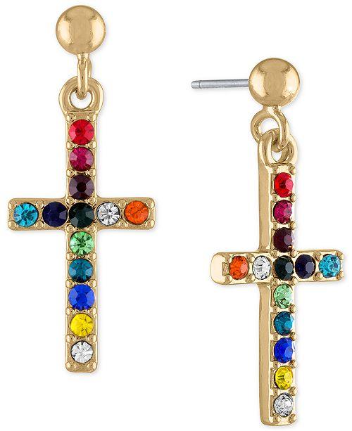 RACHEL Rachel Roy Gold-Tone Multicolor Stone Cross Drop Earrings