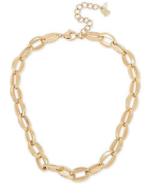 "Robert Lee Morris Soho Gold-Tone Chain Link Collar Necklace, 17"" + 3"" extender"