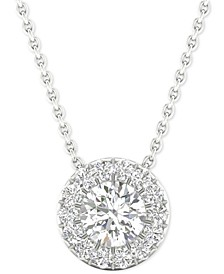 "Diamond Halo 18"" Pendant Necklace (1/4 ct. t.w.) in 14k White Gold"