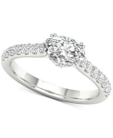 Diamond Oval Gallery Halo Engagement Ring (1-1/4 ct. t.w.) in 14k White Gold