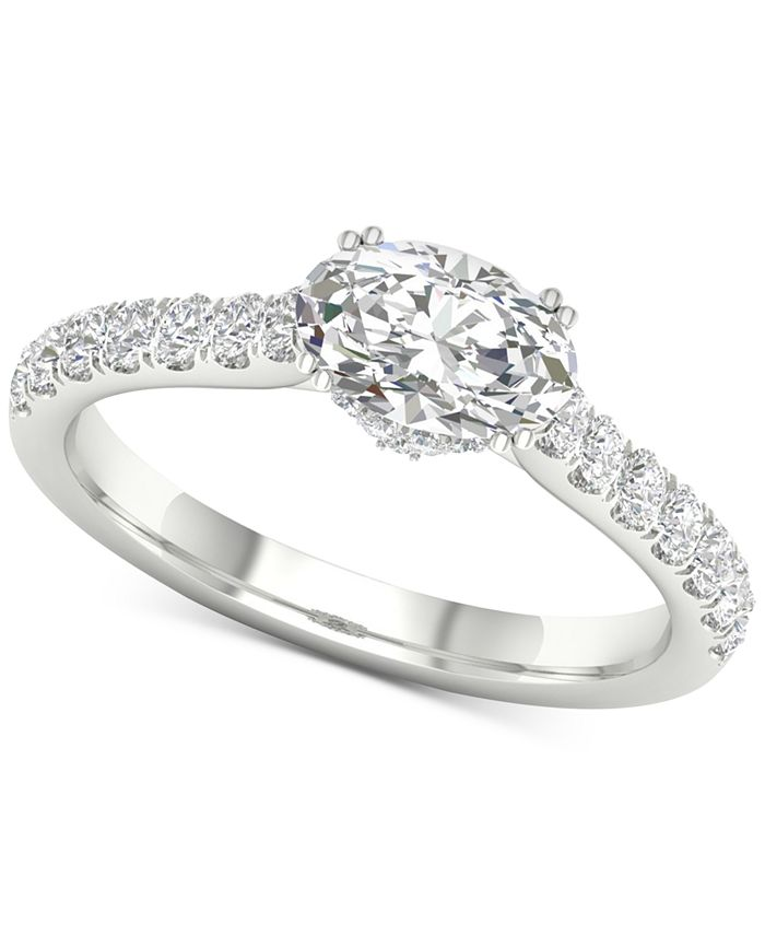 Macy's - Diamond Oval Gallery Halo Engagement Ring (1-1/4 ct. t.w.) in 14k White Gold