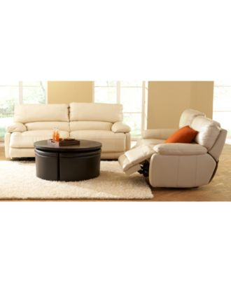 nina leather power reclining sofa collection - furniture - macy's