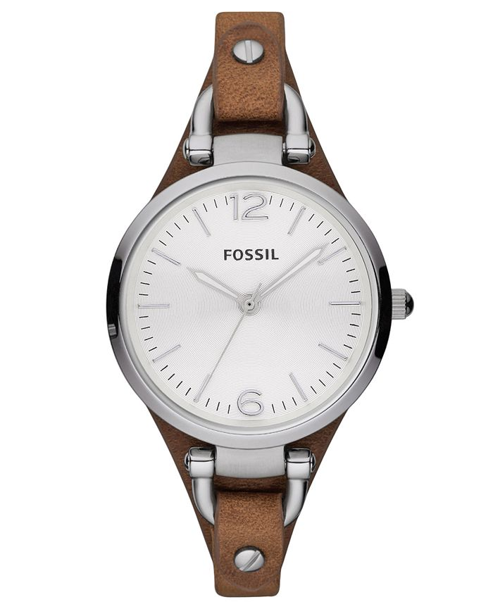 Fossil - Women's Georgia Brown Leather Strap Watch 32mm ES3060