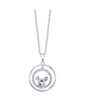 Mickey Mouse Fine Plated Silver Crystal Pendant Necklace
