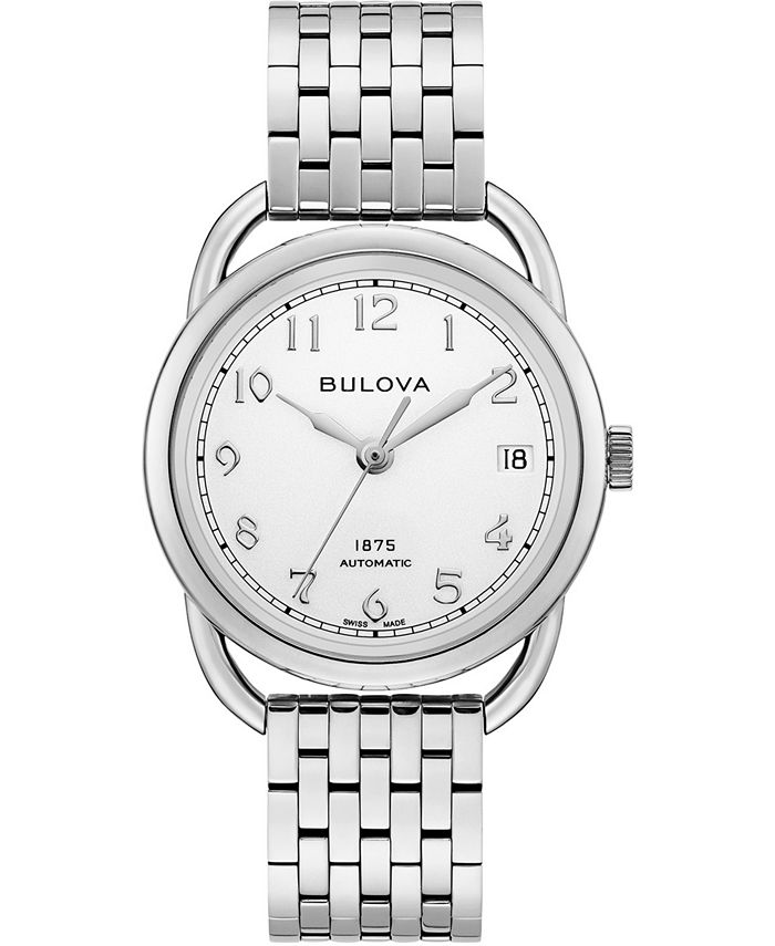 Bulova - Women's Swiss Automatic Joseph Stainless Steel Bracelet Watch 34.5mm