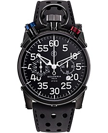 Men's Swiss Chronograph Corsa Black Leather Strap Watch 44mm
