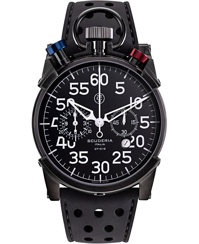 CT Scuderia - Men's Swiss Chronograph Corsa Black Leather Strap Watch 44mm