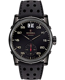Men's Swiss Testa Piatta Black Silicone Strap Watch 42mm