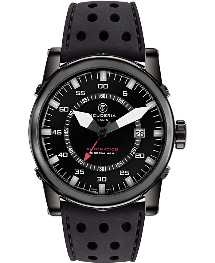CT Scuderia - Men's Swiss Automatic Coda Corto Black Leather Strap Watch 42mm